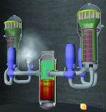 Melcor graphic of hotleg break in a pressurized water reactor (Source: Corys)