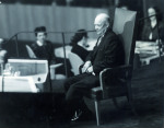 Eisenhower heartened by the ovation accorded to him, lasting a full ten minutes.  (Photo: United Nations/New York)
