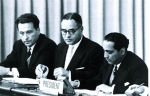 Closing session of the August 1955 International Conference on the Peaceful Uses of Atomic Energy in Geneva, Switzerland, which had an estimated 25,000 participants. Conference president (right) was Dr. Homi J. Bhabha from India. (Photo: IAEA)