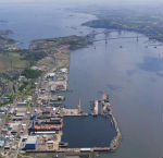 Aerial Photograph of Rosyth Dockyard with Forth Bridge