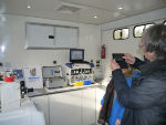 Interior of the mobile radiochemistry laboratory.