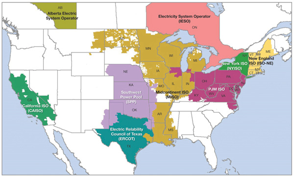 Figure US Electricity Markets Source US Federal Energy - Us electricity map
