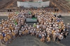 Staff from ENEC and contractors pose at the start of the nuclear concrete pour