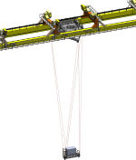 The Tensile TrussTM is composed of two triangular shaped platforms, connected by six wire ropes and positioned by six hoists. It is pictured here in extended mode.